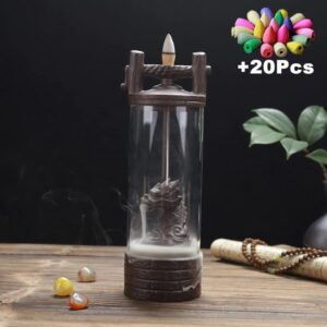 Backflow Incense Burner With Acrylic Windproof Cover