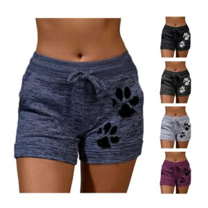 Women's High Waisted Shorts with Drawstring and Cat Claw Prints