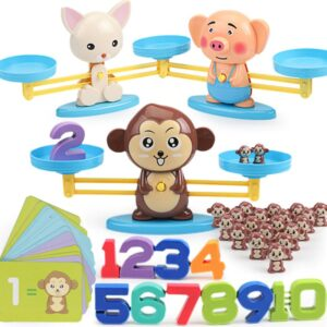 Board Math Games Toy Animal Match Balancing Scale Number Balance Game Kids Educational Toy To Learn Add and Subtract