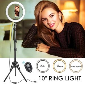 LED Ring Lamp 6/8/10″ Dimmable Selfie Ring Light with Tripod Stand and Phone Holder for Phone Live Stream