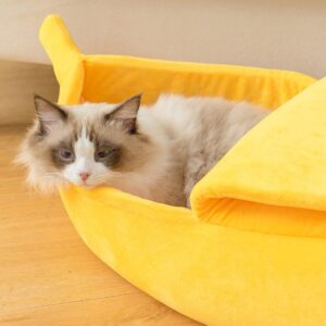 Funny and Cute Banana Cat Bed: Best Hideout for Cat to Sneak In & Out to Nap!